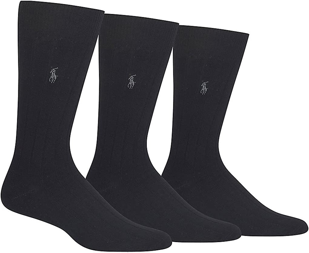 Polo Ralph Lauren Mens Ribbed Custom Fit Crew Socks