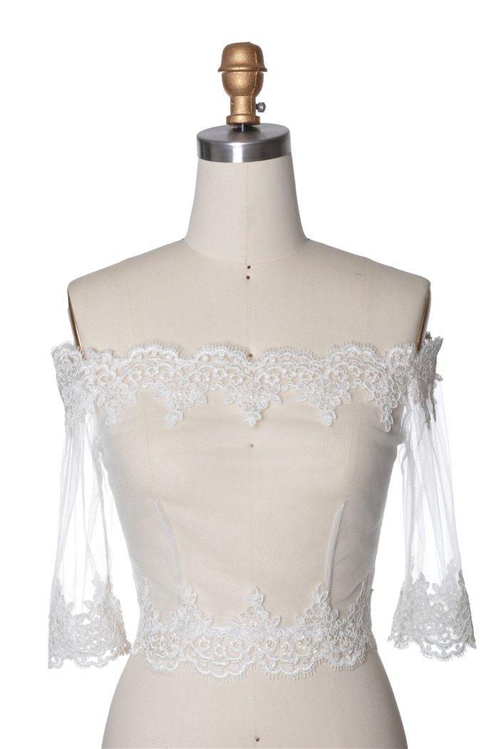 Wishprom Off Shoulder Lace Jacket Bolero Wedding Jacket (XL / (14-16))
