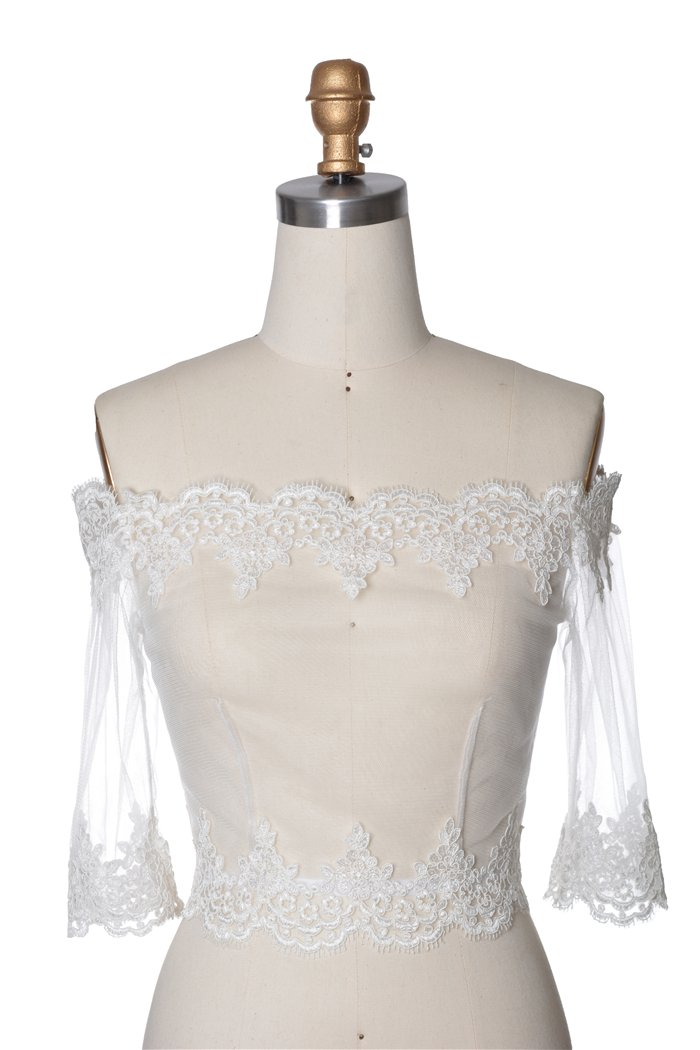 Wishprom Off Shoulder Lace Jacket Bolero Wedding Jacket (XL / (14-16)) by Wishprom