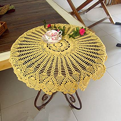 USTIDE Handmade Crochet Tablecloth Yellow Pineapple Flowers Tablecloth Decorative Cover Tablecloth For Parties 31 Inch