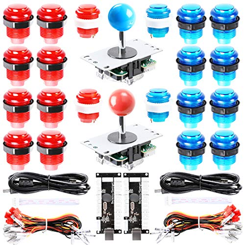 Easyget LED Arcade DIY Parts 2X Zero Delay USB Encoder + 2X 8 Way Joystick + 20x LED Illuminated Push Buttons for Mame Jamma Arcade Project Red + Blue Kits