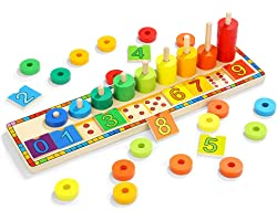 TOP BRIGHT Montessori Toys for 2 3 Year Old - Toddler Wooden Number Puzzles Sorter Counting Shape Stacker Game for Boy Girl ,