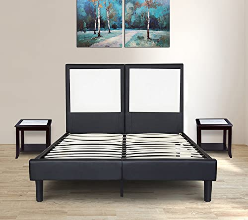 Olee Sleep 14 Inch Faux Leather Wood Slate Folding Platform R Cushion Bed Frame 14PB02K