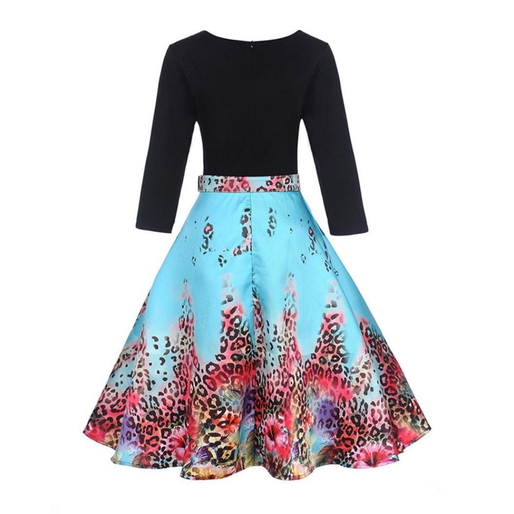 Vestido de mujer vintage Rrom - Saihui para mujer Retro 1950s 60 leopardo estampado 3/4 manga cuello redondo contraste casual cinturón fiesta Swing vestidos ...