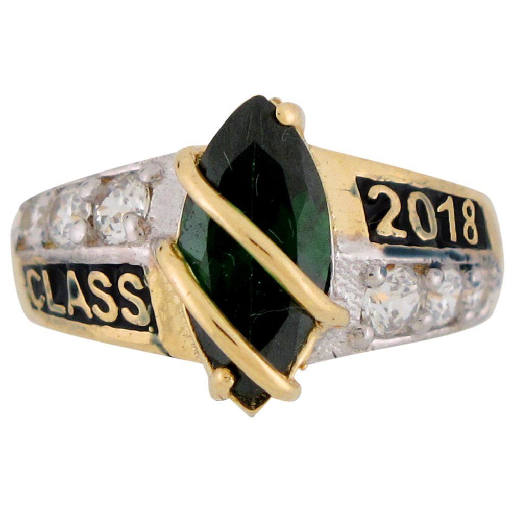 14k Solid Gold Simulated May Birthstone Class of 2019 Graduation Ring