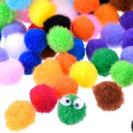 Bricolage Fournitures de Loisirs et Jouets en Peluche,500pcs,Couleur M/élang/ée 10mm knowing 10mm Color/é Pompons,Couleurs Craft Pompons,pour la Fabrication Artisanale