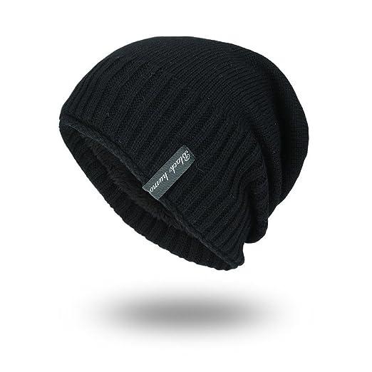 iYBUIA New Unisex Knit Cap Hedging Head Hat Beanie Cap Warm Outdoor Fashion  Hat(Black 60eaf1635e86