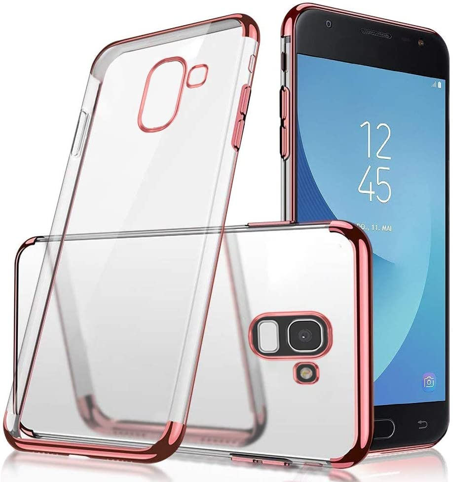Herbests Compatible with Samsung Galaxy J6 2018 Case Clear Soft Silicone TPU Case with Plating Frame Electroplated Bumper Ultra-Thin Anti Scratch Slim Fit Transparent Flexible Cover,Black