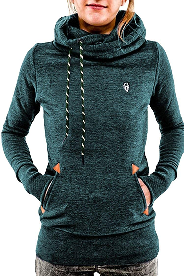Green QXH Women's Funnel Neck Kangaroo Pockets Draped Active Hoodies Sweatshirt