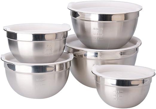 "8/"" 22cm 2 x Stainless Steel Kitchen Cake Food Grade Mixing Salad Serving Bowl"