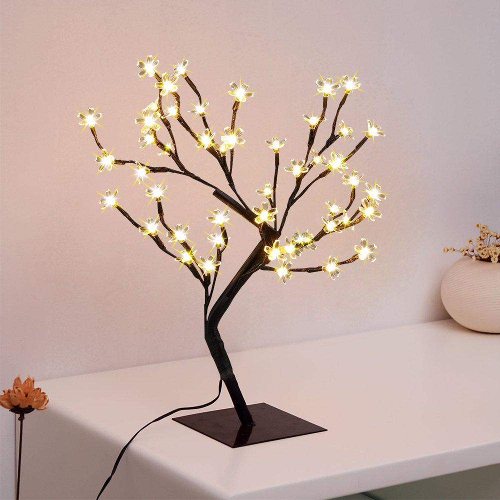ElementDigital LED Cherry Blossom Bonsai Tree Light Waterproof 45cm 48 LED Light Table Lamp Home Xmas Christmas Décor Celebration