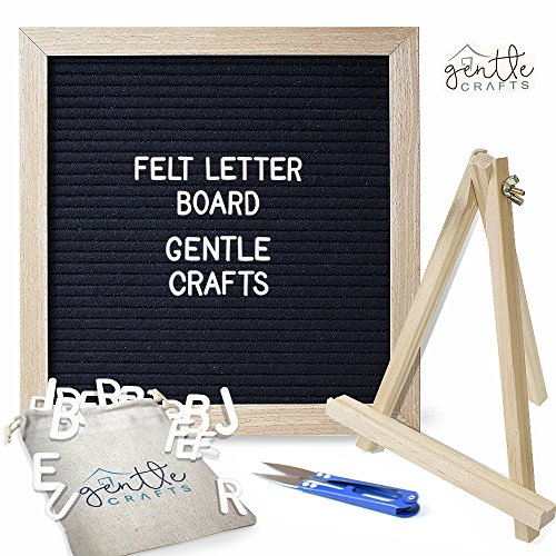 "Felt Letter Board Letters & Frame – 290 White Letters, 10"" x 10"" Oak Wood Felt Board with Stand & Scissors – Changeable Letterboard Sign for Messages, Décor, Stores, & Family Learning – Letterboards"