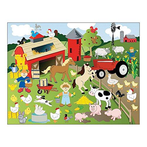 Fun Express Make-a-Farm Sticker Scenes - 12 Sticker Sheets - 12 Background Sheets (1-Pack) (Farm Animals Stickers)