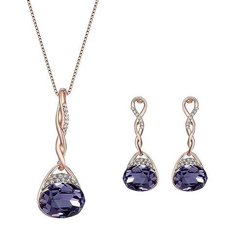 c6b17963ef12 Scrox Collar Pendientes Diamante Gotas de agua Elegante Joyas Mujer Conjunto  de Cristal Colgante Collar +