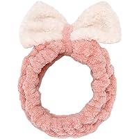 Sea Team Damesmode Pluche Hoofdband Haarlus Elastische Coral Fleece Haarband met Leuke Pompons voor Make-up Douche en…