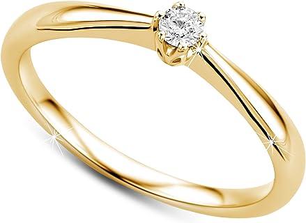 anillo solitario de oro amarillo con diamante