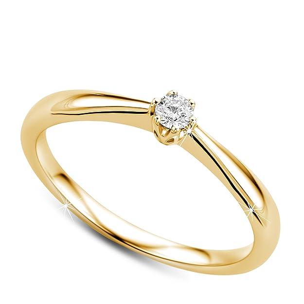 Orovi anillo de mujer solitario en oro amarillo 9 kilates ley 375: Amazon.es: Joyería