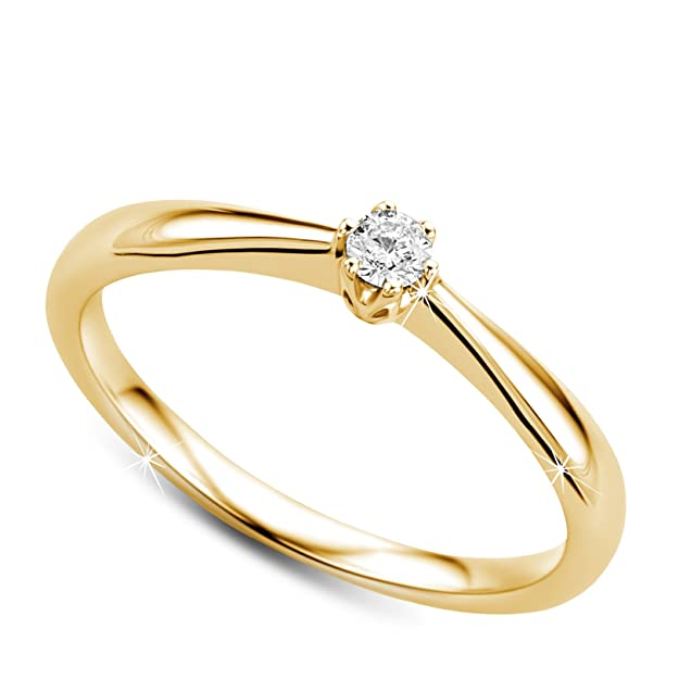d2ad8c00e822 Orovi anillo de mujer solitario en oro amarillo 9 kilates ley 375  Amazon.es