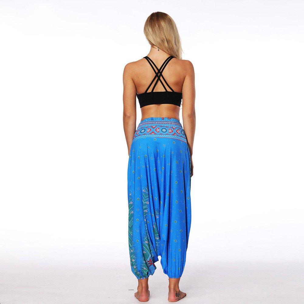 Xinantime Pantalones de Yoga Sueltos de Verano para Mujer Pantalones Holgados Holgados Boho Pantalones Hippie Boho Mujeres Desgaste Playa Fiesta Mono Pantalones Yoga Mujeres