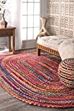 Casual Handmade Braided Cotton Oval Area Rug