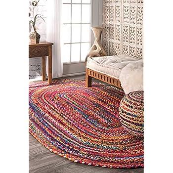 nuLOOM Casual Handmade Braided Cotton Oval Area Rug, 7 x 9