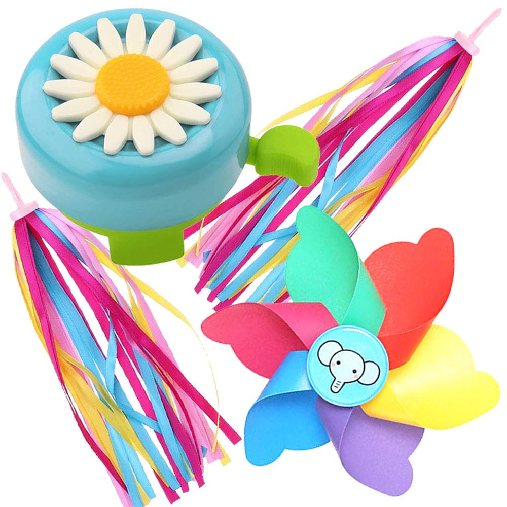 caicainiu children's bicycle bell sunflower bell, children's bicycle multi-color rotating windmill, children's bicycle streamers, children's bicycle accessories (light blue, yellow, red)