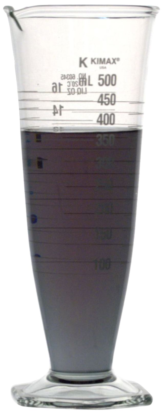 Kimble 60345-16 Borosilicate Glass Dual Scale Pharmaceutical Graduates Conical Cylinder, Calibrated to Deliver, 16 oz/500mL Capacity