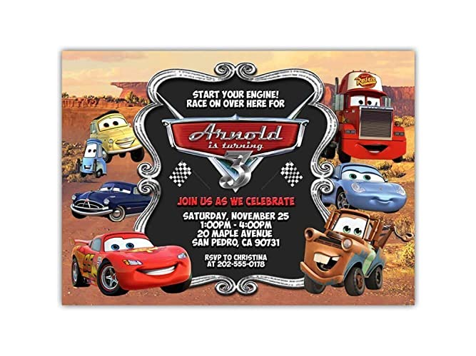 Custom Cars Movie Lightning McQueen Birthday Party Invitations For Kids 10pc 60pc 4x6 Or 5x7 Cards With White Envelopes Printed On Premium