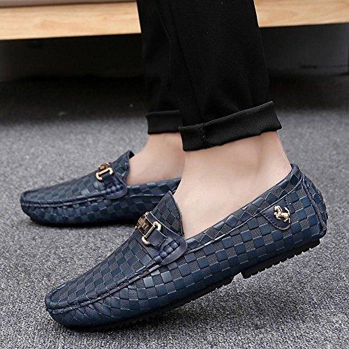 Latasa Mens Pläd Komfort Slip På Tillfälliga Lägenheter Loafers Mörkblå