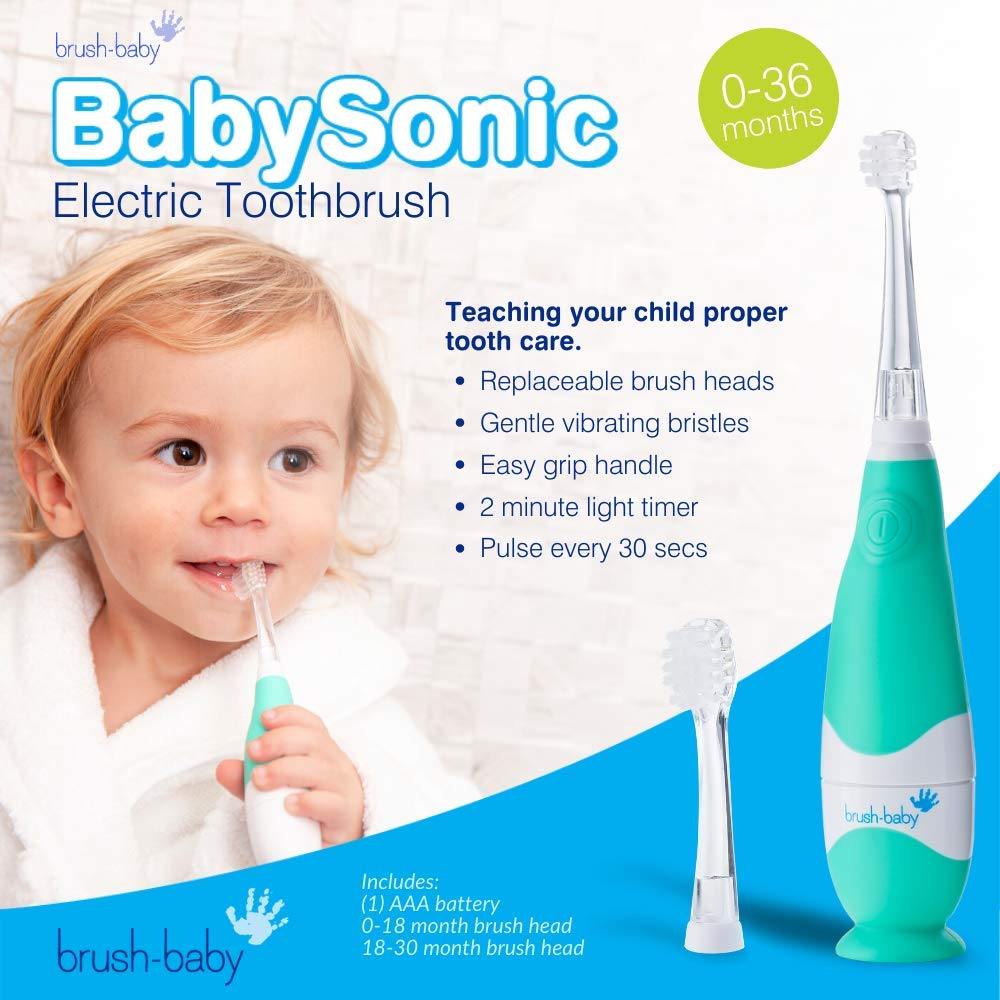 Brush-Baby Babysonic Replacement Heads Soft Vibrating Bristles Keep Teeth Clean