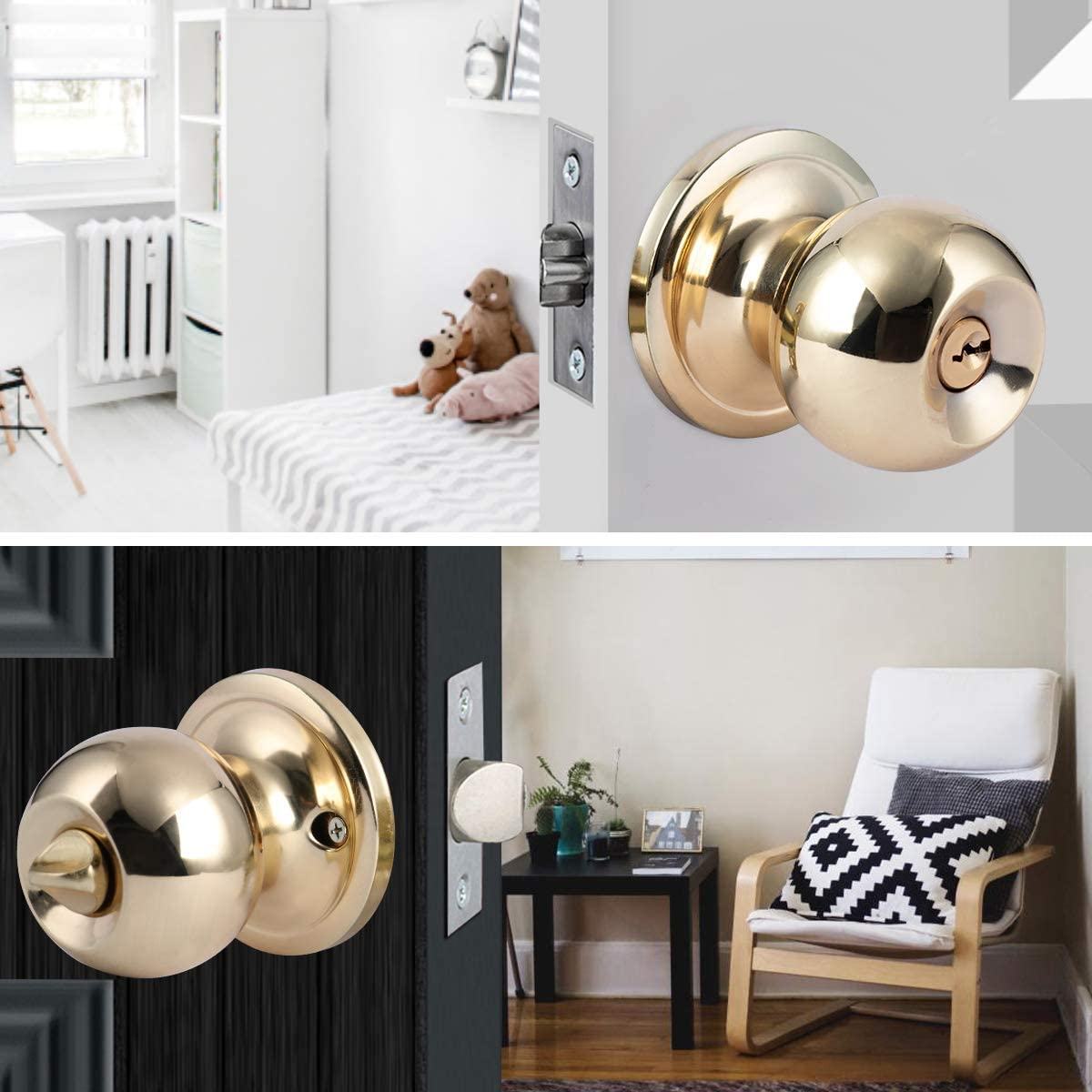 XIUDI Interior Privacy Door Knobs with Lock and Key Bronze,Bedroom Doorknob with Lock Keyed,Ball Door Handle,Privacy and Bedroom Classic Bronze