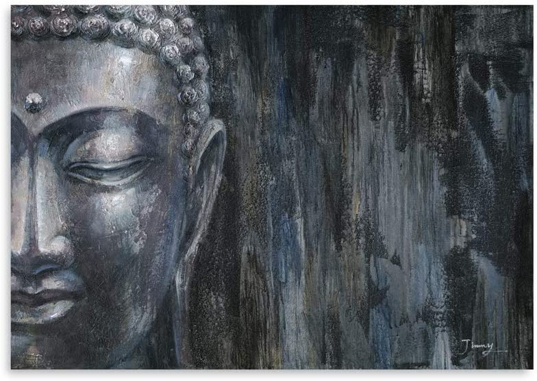 B BLINGBLING Buddha Wall-Decor Canvases for Painting: Silver Buddha Giclee Prints on Canvas Wall Art for Living Room and Office Nursery Wall Decor Easy Hanging with Frame (24x32in)