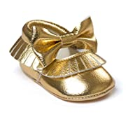 Isbasic Baby Girl Bows Mary Jane Flats Toddler Infant Soft Sole Anti-Slip Princess Baptism Crib Dress Ballet Shoes (0-6 Months, D-Gold)