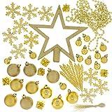 Festive 74 Piece Assorted Christmas Ornament Set, Gold