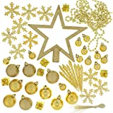 Festive 74 Piece Assorted Christmas Ornament Set, Gold