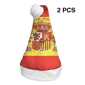 rouxf Gorras de Navidad Bandera de España (2) Gorro de Navidad con ...
