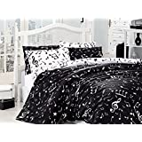 6 Pieces - Queen Duvet Cover Set by LaModaHome, 100% Cotton Ranforce Fabric Bedding Set, Music Themed Bedspread Listening Melody Musical Note Motifs Composition Design Digital Print, Black White