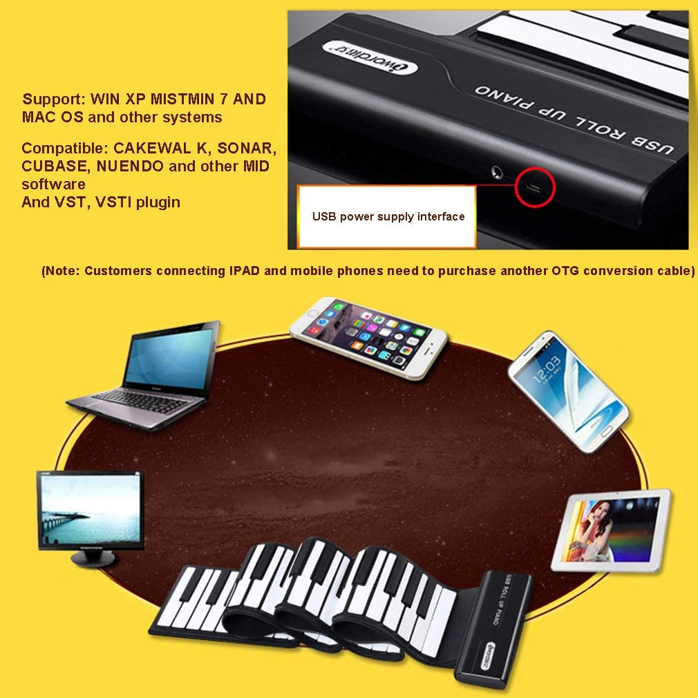 Teclado De Piano Enrollable Midi De 88 Teclas con Pedal ...