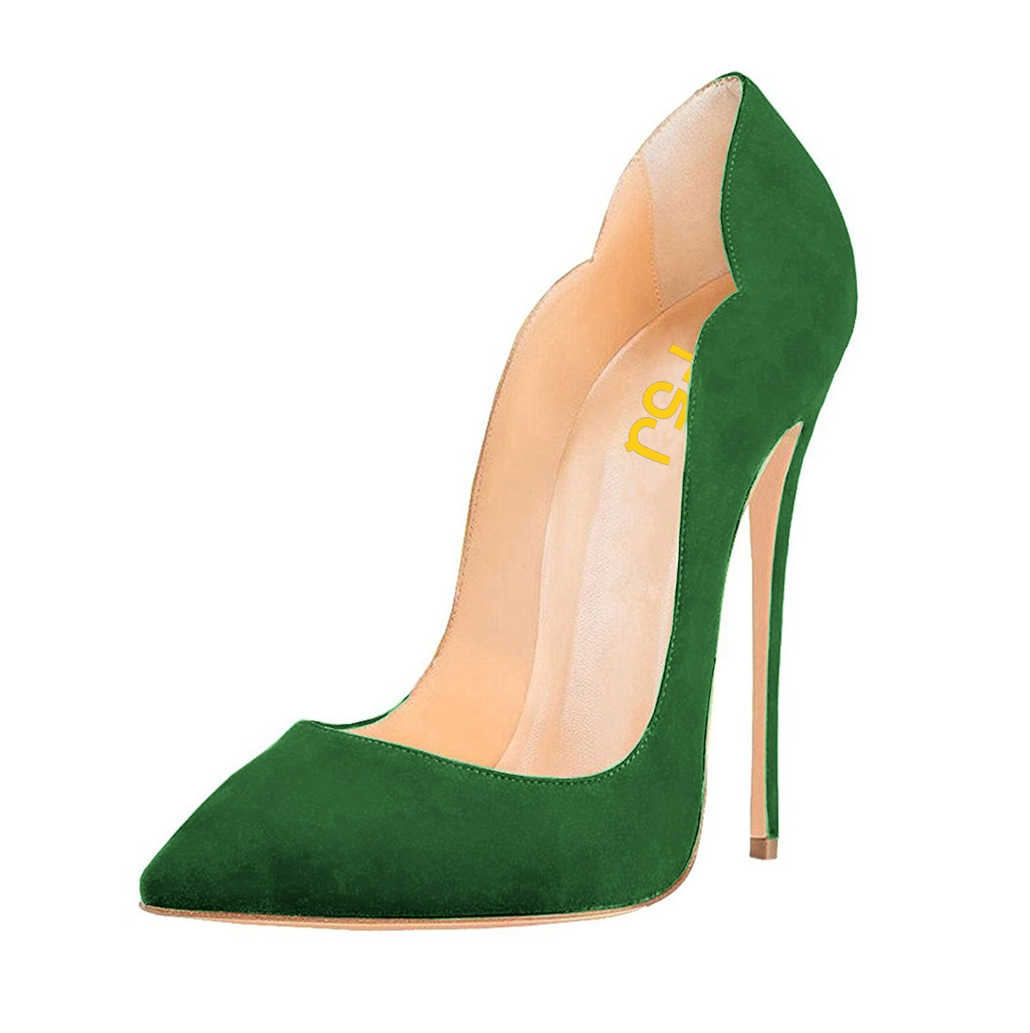 FSJ Women Classic Pointed Toe High Heels Sexy Stiletto Pumps Office Lady Dress Shoes Size 4-15 US B077T6ZR7H 8.5 B(M) US|Green-suede