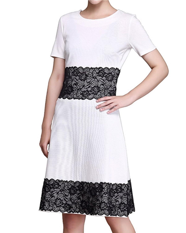 Fanessy Dame Kleid kurze Ärmel Knielang Business Bleistift Kleid ...