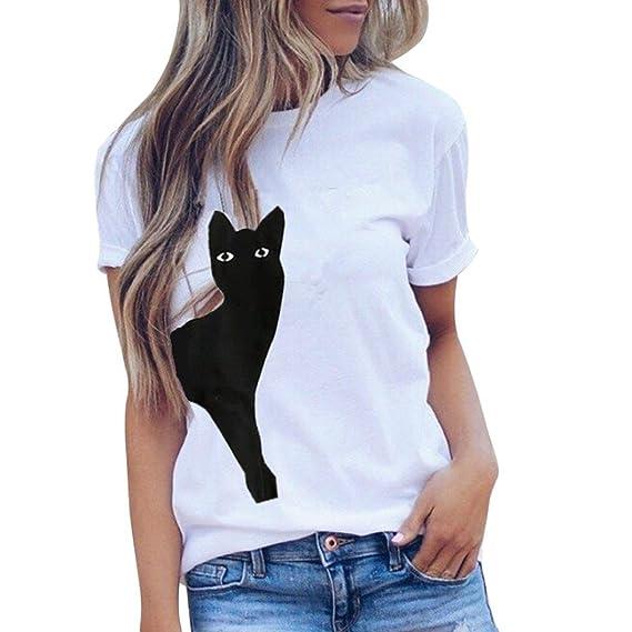 BaZhaHei Blouse, Blusa de Manga Larga De Las Mujeres Diario Gato señoras de Verano o