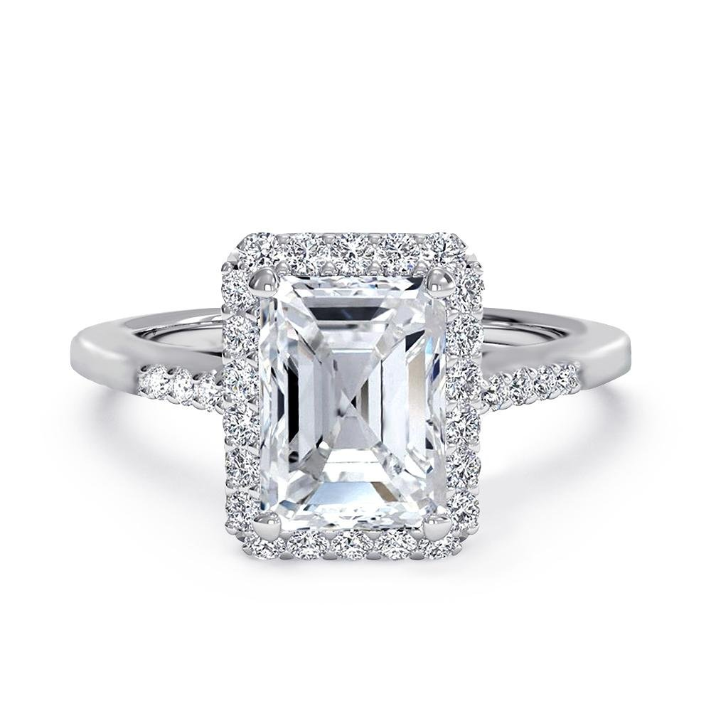 Samie Collection Emerald Cut CZ Halo Engagement Ring, Anniversary Rings in Gold, Rhodium Plating