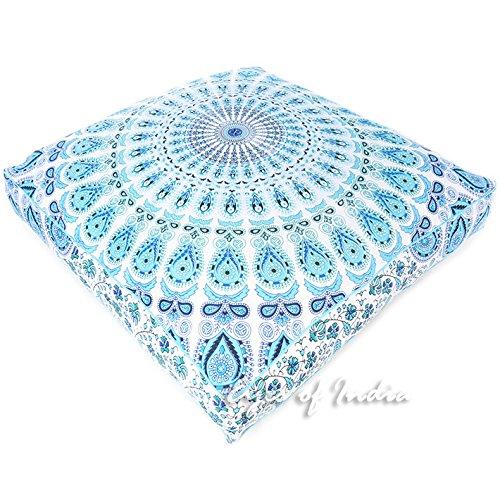 Eyes of India - 35'' White Blue Large Oversized Mandala Square Floor Pillow Cover Pouf Meditation Cushion Seating Hippie Colorful Decorative Bohemian Boho Dog Bed IndianCover Only by Eyes of India