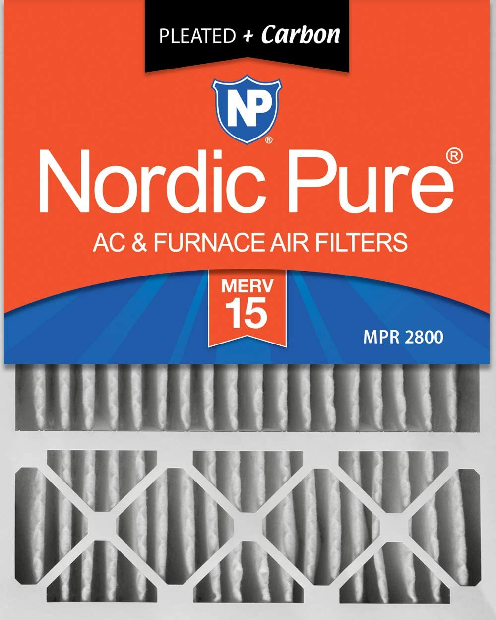 Nordic Pure 20x25x5 (4-3/8 Actual Depth) Lennox X6675 Replacement Plus AC Furnace Air Filter, 1 PACK, MERV 15 + Carbon