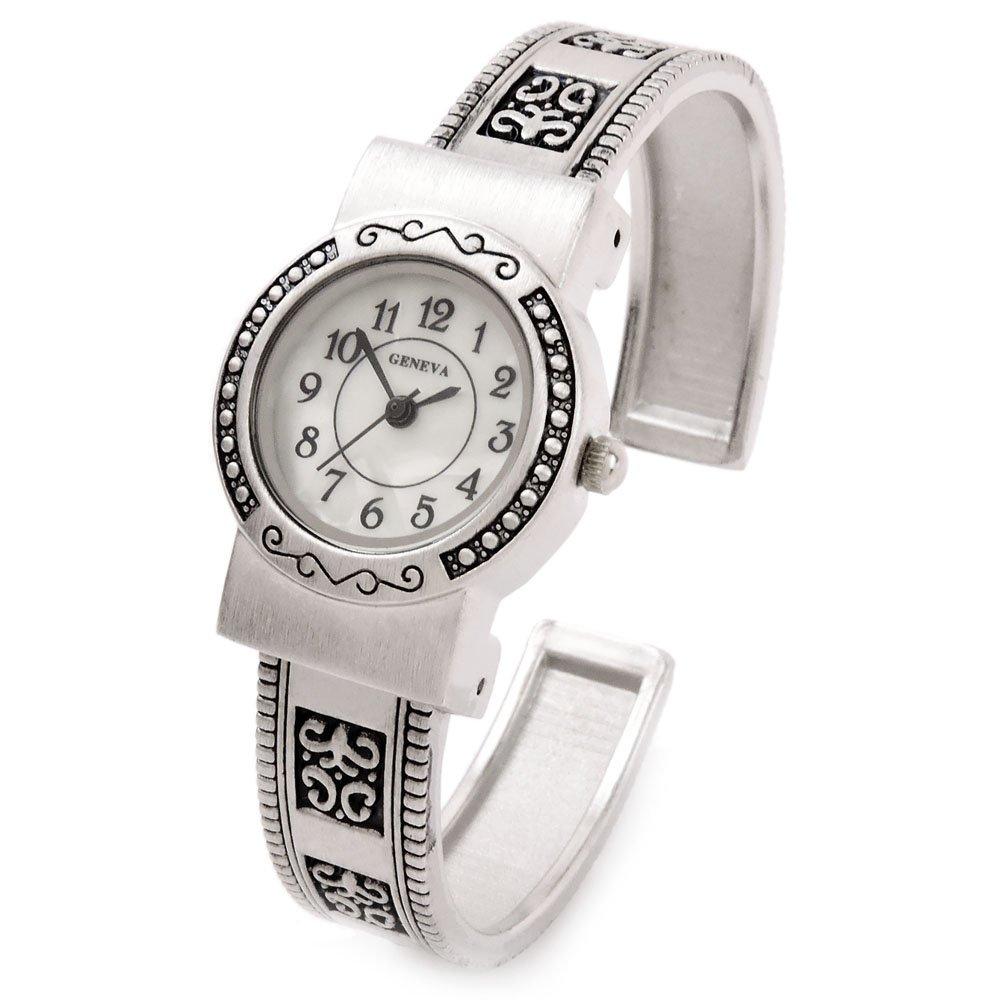 Silver Western Style Decorated Band Brushed Finish Women's Bangle Cuff Watch