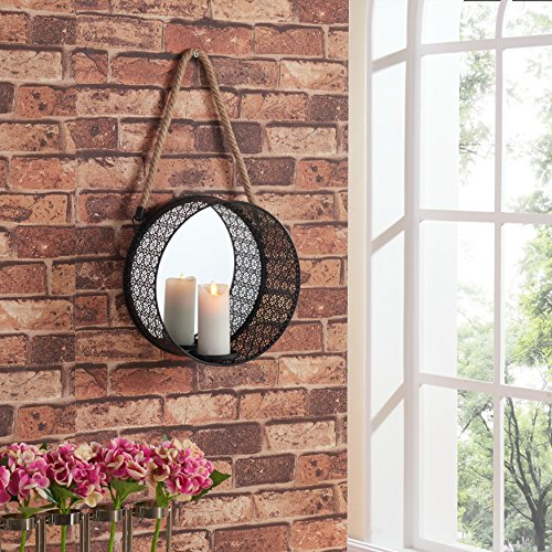 (Danya B. Round Mirror Pillar Candle Sconce with Filigree Metal Frame and Hanging Rope)