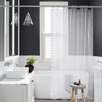 Amazer Shower Curtain Liner, 72u0026quot; X 72u0026quot; Clear EVA 8G Mildew  Resistant Thick