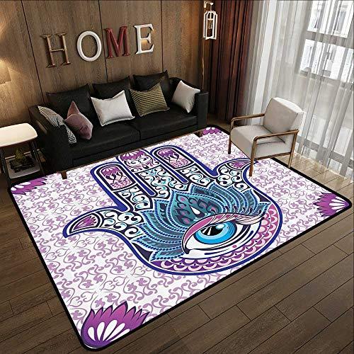 Floor mat,Ornaments Purple Hamsa Decor Kabbalah Judaica Evil Eye Lucky Charm Chai Protection Stone Mystic Home Blessing Hand of FA 78.7