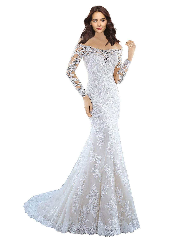 Lily Wedding Womens Long Sleeve Lace Mermaid Wedding