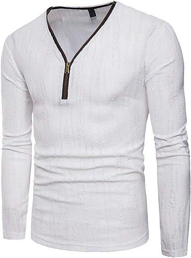 Camisa Básica De Manga Larga con V Cuello De Los En Hombres Camiseta Años 20 Casual Tops Deportivas Sudadera De Otoño Moda Slim Fit Camiseta Tops: Amazon.es: Ropa y accesorios